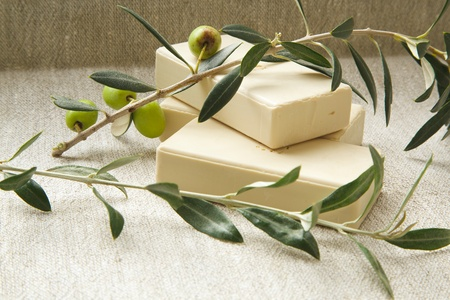 オリーブ オイルとオリーブの木の小枝の石鹸 写真素材