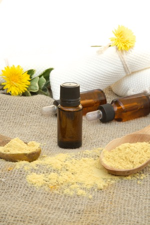 anti bacterial: A dropper bottle of mustard oil on a sackcloth Stock Photo