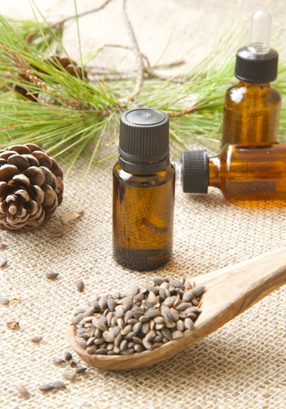 oxidative: A dropper bottle of Aleppo pine essential oil. Conifer cone and aleppo pine kernels in the background