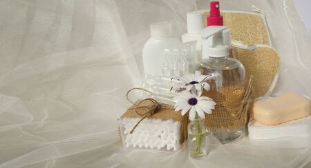 physiological: Hygiene set for an adult person: liquid soap,cotton sticks,shower,wooden comb,cosmetic discs,soap,gel,lotion,antiseptic,physiological liquid.Free space for a text