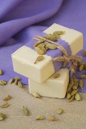 Cardamom soap. Cardamom in the background.