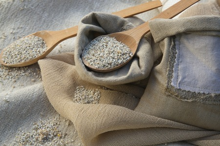 colorectal cancer: Barley cereals in a wooden made spoon
