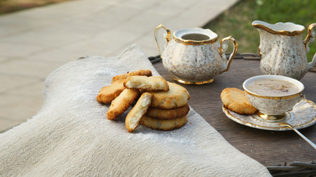 substitute: Homemade cocos biscuits with a cup of coffee substitute barley drink.Free space for a text Stock Photo