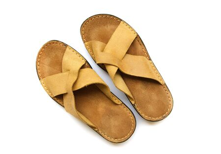mans: Leather mans slippers. Isolated over white Stock Photo
