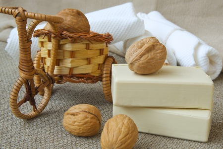 maintainer: Soap bars with walnut oil Stock Photo