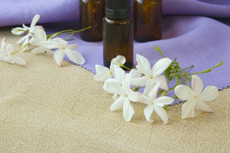 benzoic: Jasmine blossoms. Jasmine essential oil in the background