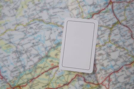 card stop: A card with the image of prohibitary traffic sign STOP on the road map