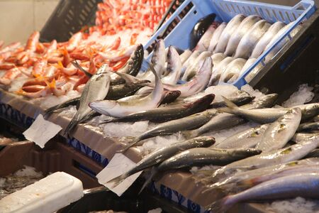 natural ice pastime: Fresh fish at the fish market: sea bass in the focus.