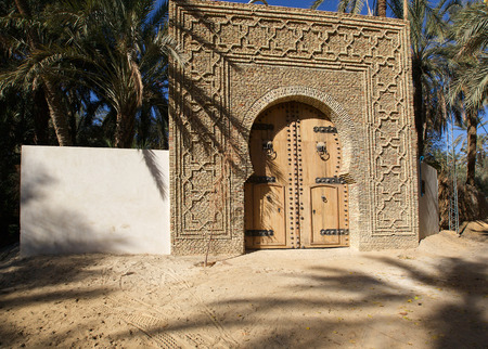 tunisian: Huge olive wood door in Tunisian oasis Stock Photo