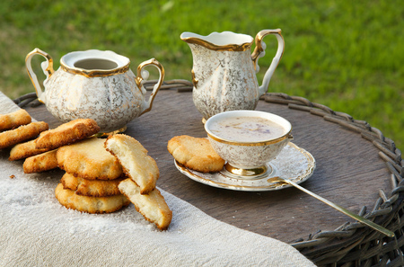 substitute: Homemade cocos biscuits with a cup of coffee substitute barley drink