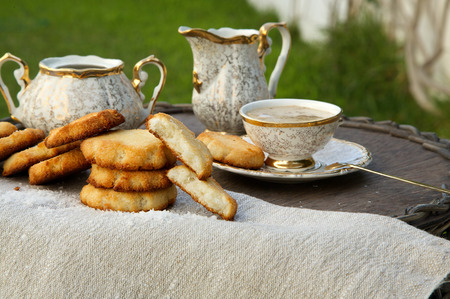 cocos: Homemade cocos biscuits with a cup of coffee substitute barley drink