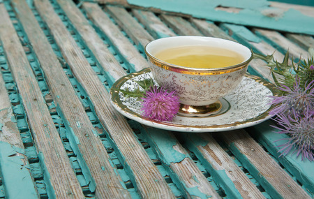 A cup of milk thistle tea. Milk thistle blossoms are in the background