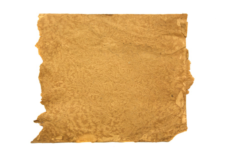 distressed paper: Distressed paper in liquid coffee. OVer white Stock Photo