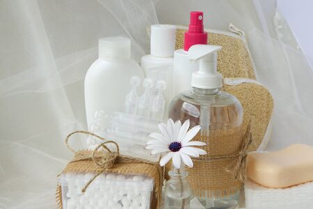 physiological: Conjunto de Higiene para una persona adulta: jab�n l�quido, bastoncillos de algod�n, ducha, peine de madera, discos cosm�ticos, jab�n, gel, loci�n, antis�ptico l�quido, fisiol�gica. Foto de archivo