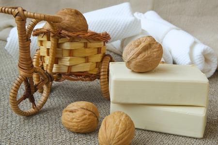 Soap bars with walnut oil Stock Photo