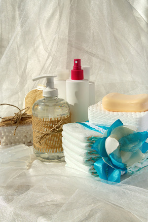 antiseptic: Hygiene set for a baby: liquid soap,cotton sticks,shower,diapers,cosmetic discs,soap,gel,lotion,antiseptic,physiological liquid.