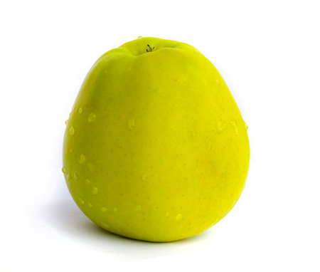 apple gmo: A green sweet apple on a white background