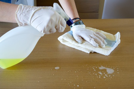 cleaning lady: The cleaning lady is washing away the dust