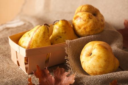 carotenoid: Yellow pear on a decorative sackcloth