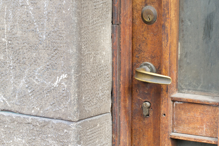 text free space: A doorknob of an old entrance door. Free space for a text Stock Photo
