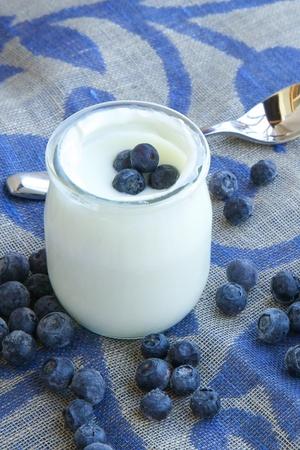 yaourt: Yaourt nature avec des myrtilles sur un sac décoratif