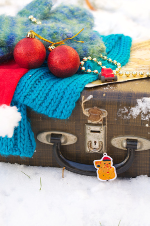 winter vacation: Winter vacation suitcase.Travel tips