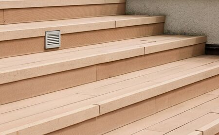 grate: Terrace stairs with installed ventilation grate