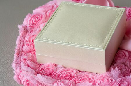 jewellery box: A jewellery box as a present. Closeup Stock Photo