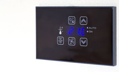 temperature controller: Hotel room air-conditioning thermostat. Closeup Stock Photo