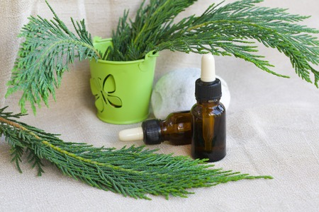 antirheumatic: A dropper bottle of thujas essential oil on a beige sackcloth