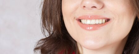 reconstructive: A smiling young woman between 30 and 40 years old. Stock Photo