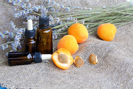 apricot kernel: Dropper bottle of apricot kernel oil on sackcloth. Fresh apricots and kernel in the background.