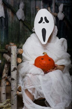 Boy of six years dressed in mummy costume.  Closeup Stock Photo