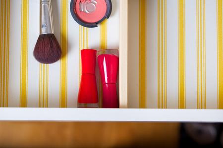 Open drawer of a woman's mirror table. Closeup Standard-Bild - 97701917