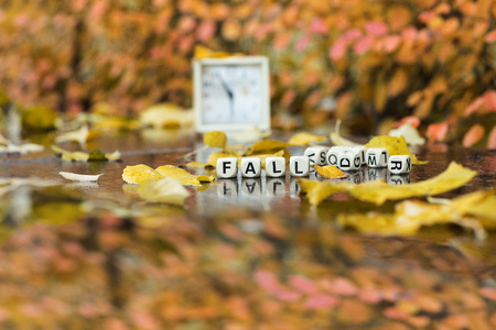 Word FALL is composed of wooden letters. Closeup Zdjęcie Seryjne