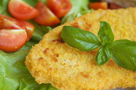 Chicken schnitzel with cherry tomatoes and green salad leaves. Closeup