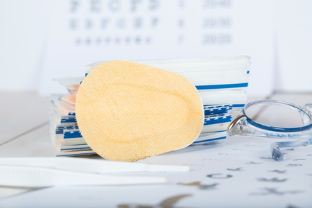 Eye pad for correcting crossed eyes. Closeup