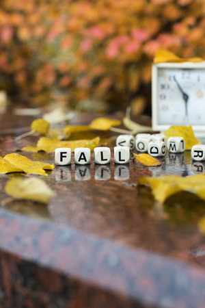 Word FALL is composed of wooden letters. Closeup Stock Photo