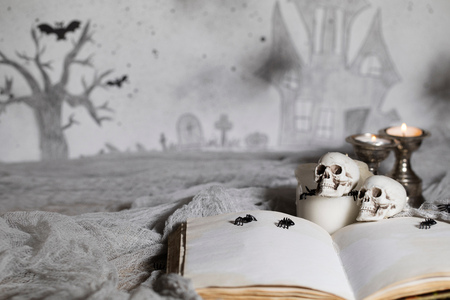 Opened book of bewitchment with free space for a text. Bewitchment symbols - skulls, herbs, candles, spiders. Haunted castle in the background