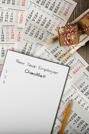 New Year Employer checklist. Closeup. Top view