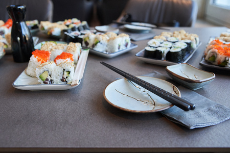 during a master class self made sushi ready to eat Imagens