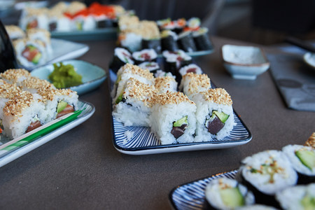 during a master class self made sushi ready to eat Reklamní fotografie