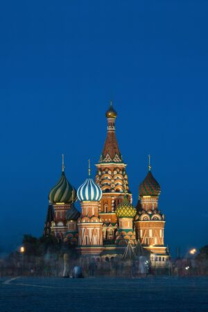 Saint Basil's Cathedral in Moscow Russia Red Square in the evening with beautiful lighting