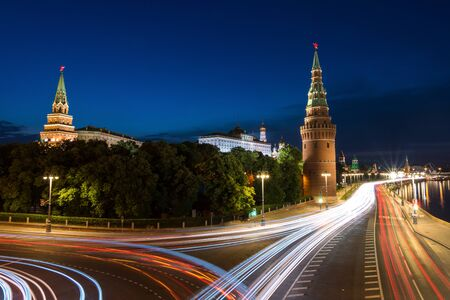 heavy traffic early in the morning near to kremlin in Moscow Stock Photo