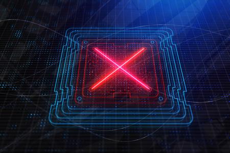 Red X on digital scoreboard/screen. Rejection concept. 3D Rendering