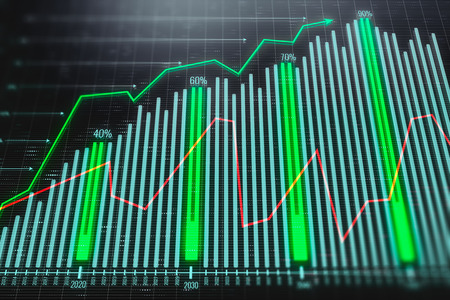 Creative green forex background. Technology, future, forecasting, trade and investment concept. 3D Rendering