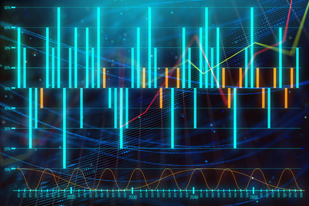 Creative blue forex wallpaper with lines. Technology, future, forecasting, trade and investment concept. 3D Rendering  Stock Photo