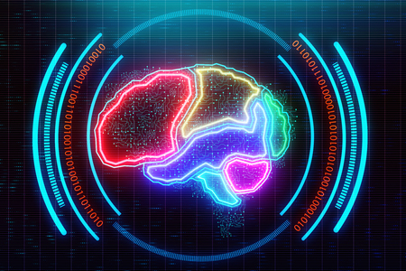 Abstract glowing colorful digital brain backdrop. AI and technology concept. 3D Rendering