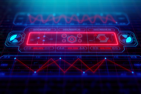 Future, innovation and futuristic concept. Glowing colorful digital business interface background. 3D Rendering  Stock Photo