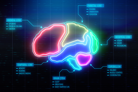 Abstract glowing colorful digital brain wallpaper. AI and technology concept. 3D Rendering  Stock Photo